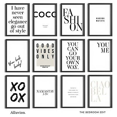 £5.99 • Buy Bedroom Prints Beauty Wall Art Home Décor Quotes Framed Fashion Print Posters