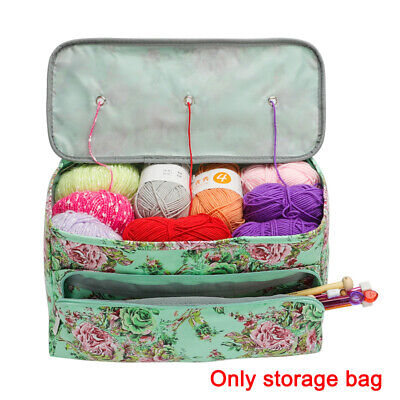 Knitting Yarn Storage Bag Case Crochet Hooks Needle Thread Sewing Kit Organizer • 11.35£