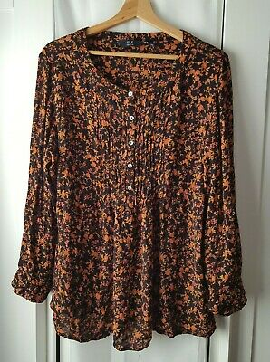 EWM Isle Collection Size 18 Loose Fit Ditsy Floral Print Smock Top • 4.99£
