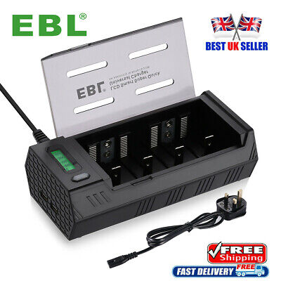 EBL LCD Battery Charger 2 USB For AAA AA C D 9V Rechargeable Batteries UK Plug  • 8.99£