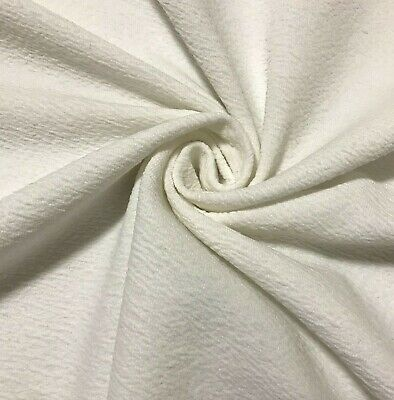 £4.99 • Buy Ecru Small Wavy Effect Stretch Jersey(thick Like Ponte) Fabric-sold By The Metre