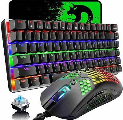 AU90.14 • Buy Mechanical Gaming Keyboard Mouse And Mouse Pad Rainbow Backlit Anti-ghosting Key