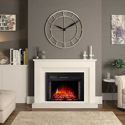 Recessed Electric Fireplace Wall Heater Fire LED Log Burning Flames Effect Stove • 127.19£