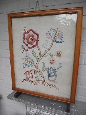 £40 • Buy Vtg Wood Framed Metamorphic Fire Screen Guard Table Jacobean Floral Embroidery