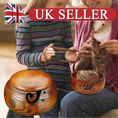 Wooden Yarn Bowl Holder Knitting Crochet Yarn Wool Storage Container With Lid UK • 15.19£