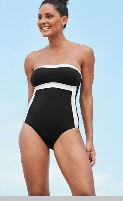 Next Size 12 Tall Monochrome Bandeau Strapless Swimsuit / Swimming Costume Bnwt • 22£