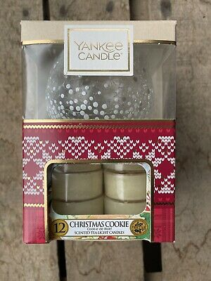 YANKEE CANDLE - 12 Tea Light Candles And Glass Holder CHRISTMAS COOKIE - NEW • 6.50£