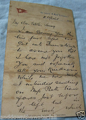 White Star Line TITANIC Vintage Letter Wrote On  Board The Ship Before Disaster • 5.50£