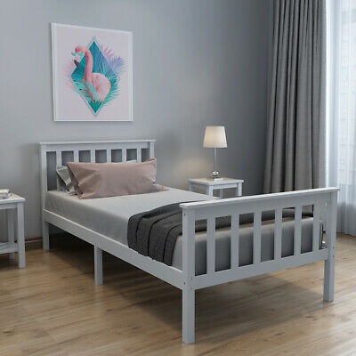 Grey 3ft Single Bed Frame Solid Wooden Pine Bed Fits Single Mattress 190x90 Cm • 40£