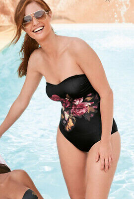 Next Sz 20 Tall Black Floral Bandeau Strapless Swimsuit / Swimming Costume Bnwt • 23£