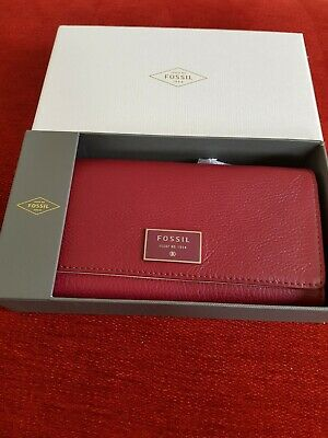 Fossil BNIB Dawson Flap Clutch Purse Wallet Burgundy Grained Leather  • 25.99£