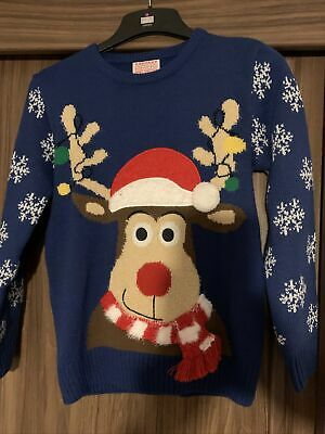 BOYS BLUE CHRISTMAS JUMPER WITH RUDOLPH GEORGE AGE 9-10 Yrs  • 3.20£