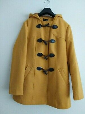 Ladies George Mustard Yellow Duffle  Coat With Hood Size 16 Hardly Worn • 11£