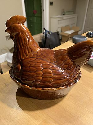 Hen Egg Holder Ceramic Basket Bowl Storage Brown Glazed Chicken Price Kensington • 10£