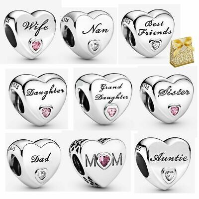 Pandora 925 Sterling Silver Family Love Mum Wife Aunt Dad Heart Charm Beads +box • 11.99£