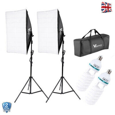 135W Continuous Lighting Softbox Photography Studio Video 2M Stand Bulbs Kit Set • 45.99£