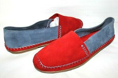 AU28.22 • Buy ❤️JACQUES LEVINE Spain Red Blue Suede Leather Moccasin Flats 8 M GREAT! L@@K!30