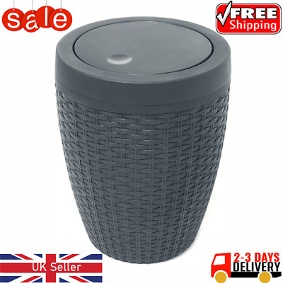 Addis Faux Rattan Round Swing Lid Bathroom Bin, Charcoal, 5 Liter New! • 18.99£