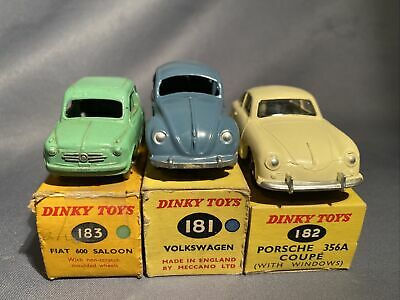Dinky Toys No.183 Fiat 600 + Box, 182 Porsche 356A, 181 Volkswagen Beetle. Boxed • 82£