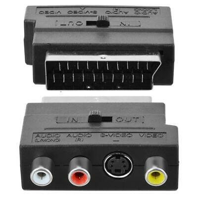 SCART Adaptor AV Block To 3 RCA Phono Composite S-Video With In/Out Switch GOLD • 2.50£