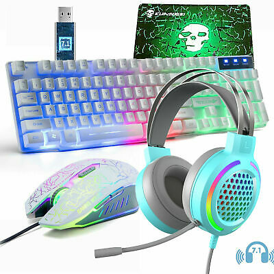 AU65.60 • Buy Gaming Keyboard Mouse And 7.1 RGB Headset Combo Rainbow LED Backlit For PC PS4