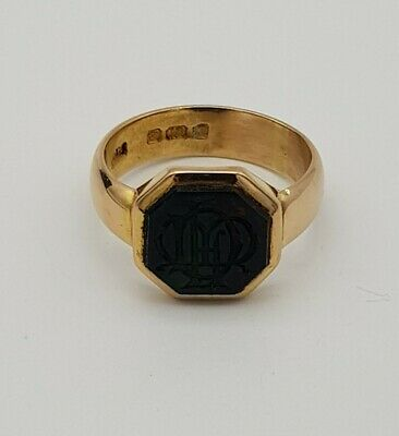 £950 • Buy Victorian 18ct Gold, Octagonal Green Blood Stone Seal  Signet Ring.