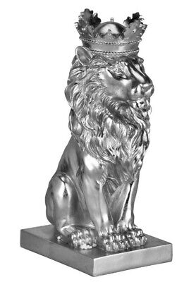 Silver Sitting Lion In Crown Regal Ornament Statue Sculpture Home Decor Bling  • 29.99£