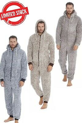 1Onesie Mens Frosted Sherpa Snuggle Fleece Hooded Jumpsuit Zip Up One Piece Warm • 23.80£