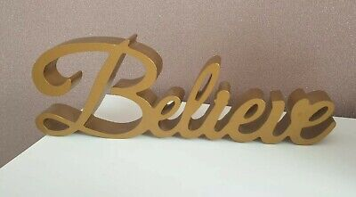£12.99 • Buy NEW  Believe  Gold Wooden Word Block Plaque Ornament Home Decor Xmas Gift