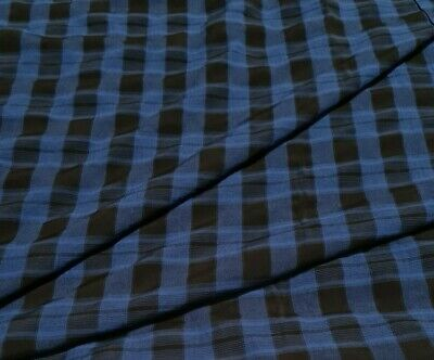 £3.99 • Buy  Checked Viscose Fabric Black And Blue   - Sold By The Metre