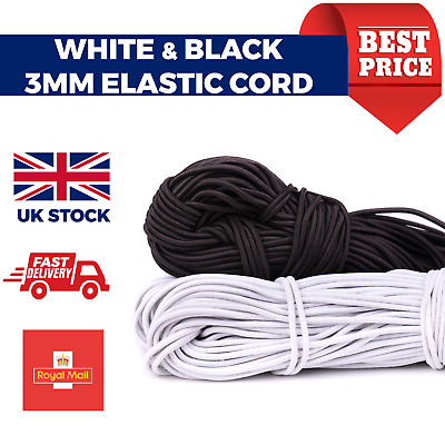 £3.99 • Buy  3mm Elastic Cord SOFT Round Strap Sewing Craft For Face Mask Black Or White