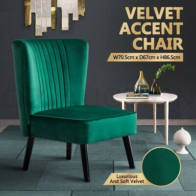 AU129.95 • Buy Armchair Lounge Dining Chair Accent Armchair Retro Single Sofa Velvet Seat Green