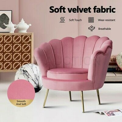 AU249.95 • Buy Accent Armchair Upholstered Pink Velvet Dining Lounge Chair Single Soft Sofa