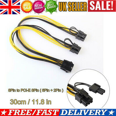 UK 8Pin To Graphics Video Card Double PCI-E 8Pin(6Pin+2Pin)Power Supply Cable • 5.27£