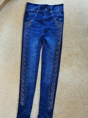 Navy Blue ,, Denim Look,, Leggings With Blink On The Side  Size 10.new No Tag • 2.99£