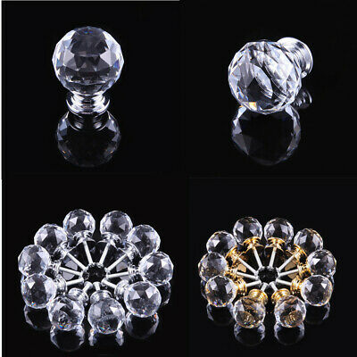 Clear Crystal Diamond Glass Door Knobs Cupboard Drawer Furniture Handle Cabinet • 3.49£