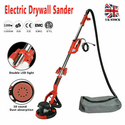 1200W Drywall Sander Long Telescopic Handle With LED 220mm Pad Wall Ceiling UK • 126.99£