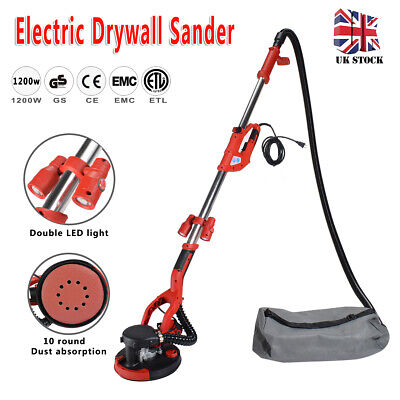 1200W Telescopic Drywall Sander With LED Dust Free Long Reach Dry Wall Ceiling • 99£