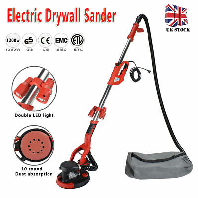 1200W Telescopic Drywall Sander With LED UK Plugs Dust Free Dry Wall Ceiling • 172.49£