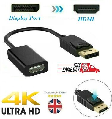 DP Male To HDMI Female Adapter Converter 4K HD Display Port 1080P For HDTV PC UK • 3.95£