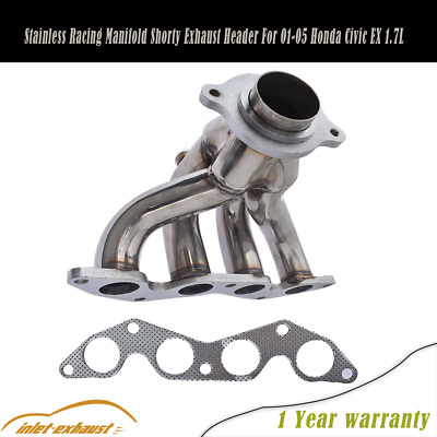 $51.57 • Buy Stainless Racing Manifold Shorty Exhaust Header For 01-05 Honda Civic EX 1.7L