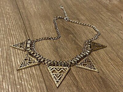 Geometric Aztec Necklace. Hipster, Bohemian, Indie, Brass • 1.99£