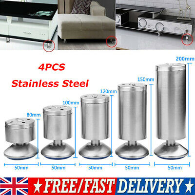 4x Stainless Steel Plinth Feet Sofa Legs Bed Cupboard Cabinets Furniture Stands • 10.04£