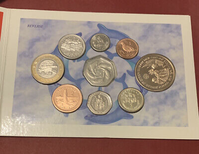2002 Gibraltar Set Coin 1p - £2 Included Very Rare £2 CANNON & 50p DOLPHINS BU • 295£