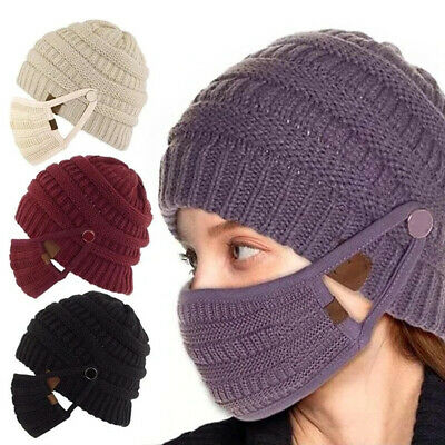 Winter Woman Knit Hat And Scarf Set Face Mask Knitted Fleece Lining Warm Cap • 8.39£