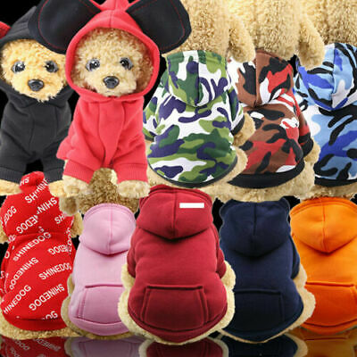 UK Pet Dog Hoodie Sweater Jumper Coat Warm Dogs Clothes Puppy Apparel Costume • 4.69£
