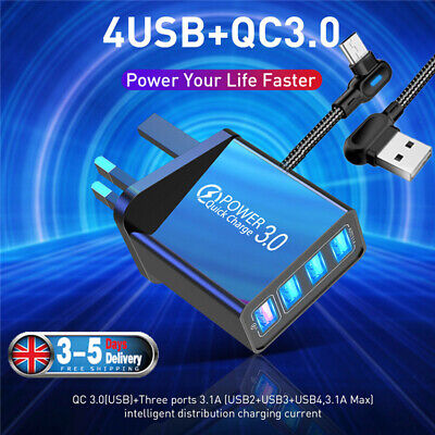 £5.49 • Buy 4 Multi-Port QC 3.0 Fast Quick Charge USB Hub Mains Wall Charger Adapter UK Plug
