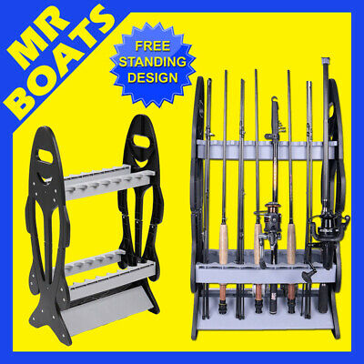 AU24.94 • Buy FISHING ROD HOLDER RACK ✱ Holds 16 Fish Poles ✱ Stand Double Sided Floor Sto