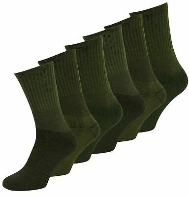 £7.99 • Buy New Men' Boys 3 / 6 Pack Military Hiking Cotton Blend Work Socks Army Olive 6-11