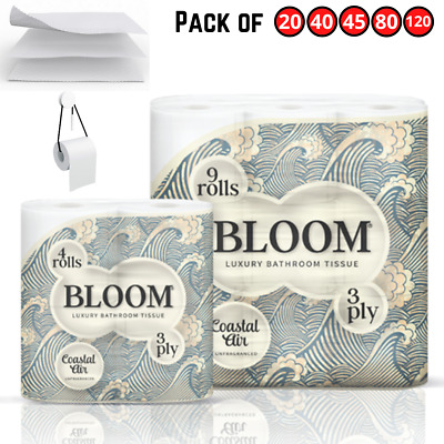 Bloom White Toilet Rolls 3Ply Luxury Paper Strong Quilt Bathroom Tissue Soft • 30.55£